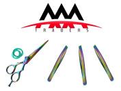 Multi Colour Professional Hair Dressing Scissor with 3 Tweezers in Multi Colour