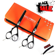 New Arrival - Hair Cutting Scissors - Professional Razor Edge Scissors - Barber Hair Cutting Shears - Japanese Stainless Steel - Left Handed hair Scissors set 14cm Free Black Razor + Scissors Case