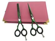 Professional Hairdressing Cutting Barber Japanese Scissors Salon Shears & Thinner 14cm Set Green Zebra Hand Made By Japanese Steel + Free Case