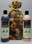"""Neem Oil Neem Bark Peppermint Herbal Essentials Shampoo & Conditioner Set 830ml Head to Toe Total Body Cleansing System Gifted Wrapped by """"All About Neem, Inc."""""""