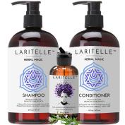 Laritelle Organic Hair Loss Prevention Shampoo 470ml + Conditioner 470ml + Bonus Post-shampoo Treatment 60ml | Unscented & Hypoallergenic | NO GMO, Sulphates, Gluten, Alcohol, Parabens, Phthalates