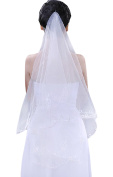 Soft Tulle Wedding Bridal Veil 1 Tiers 1.5 Metres Long Cathedral Chapel Veils with Silk Floss Trim for Women Bride Lady