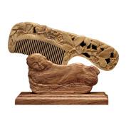 ICEGREY Sandalwood Comb Hair Brush Rake Comb Handmade Carved Butterfly Flower
