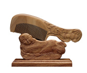 ICEGREY Handmade Lotus Engraving Black Sandalwood Hair Comb Beard Brush Rake Comb