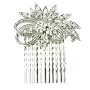 Faship Gorgeous Clear Crystal Floral Hair Comb