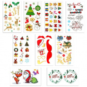 Christmas Theme Temporary Tattoos for Kids Adult -- Wreath ,Bell,Wishes,Robbin Santa Claus Tattoos Metallic Tattoos