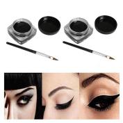 FTXJ 2 PCS Makeup Black Waterproof Eyeliner Gel Cream With Brush