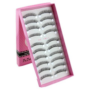 Imstyle 10 Pairs Long Natural Cross False Eyelashes Fake Eye Lashes Soft Reuseable for Makeup Cosmetic