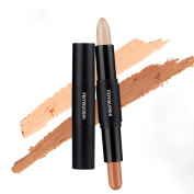 Fullkang Highlighter Contouring Bronzer 3D Face Makeup Double-ended 2 in 1 Contour Stick Concealer Full Cover Blemish
