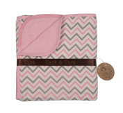 Zack & Tara Muslin Slumber Blanket - Chic Chevrons in Pink & Grey