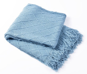Bourina Knitted Textured Solid Soft Throw Couch Cover Blanket, 130cm x 150cm , Blue