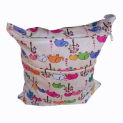 Wawoo & #174 Baby Cloth Nappy Bag 28cm x 38cm Print Patterns Owl Elephant Birds Monkey Waterproof Soft Storage Bag Wet Dry Bags