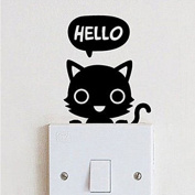 1 Pcs Cat Children's Room Bedroom Vinyl Decal Wall Switch Sticker Wall by Crqes