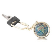 KALIFANO Gemstone Globe with Marine Blue Opalite Ocean showcased on a Gold Coloured Keychain