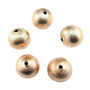 100PCS 14MM Metal Copper Material Round Ball Shape Spacer Beads 12MM Gold Plated Colour for Jewellery Making & DIY (TZ-1001)