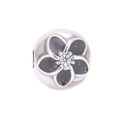 FJCharm Authentic 925 Silver Black Enamel Mystic Floral Clear CZ Flower Clip bead fits Pandora Charms bracelets