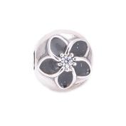 FJCharm Authentic 925 Silver Black Enamel Mystic Floral Clear CZ Flower Clip bead fits Pandora Charms bracelets