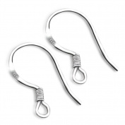 NT_Big Sterling Silver Fish Hook Earrings Earwires w/Coil