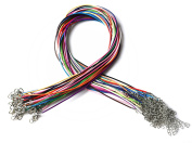 Shapenty 14 Colours Waxed Cotton Braided Necklace Cord Rope with Lobster Claw Clasp Extended Chain, 1.5mm