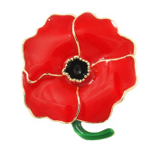 Red Poppy Flowers Brooch Pin Badge Glitter Soldier Enamel Lapel Plating Pin Gift Remembrance Day Lotus