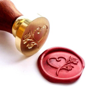 Vooseyhome The Heart & Roses Wax Seal Stamp with Rosewood Handle