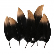 Ling's moment Gold Dipped Black Dyed Goose Feathers for Arts and Crafts in Bulk for Weddings Wall Hanging, 12pcs