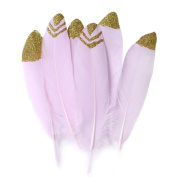 Ling's moment Glitter Gold Dipped Pink Dyed Natural Goose Feathers for Arts and Crafts in Bulk for Weddings Wall Hanging, 12pcs