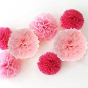 Zicome 12 Piece Tissue Paper Flower Pom Poms for Decorations,25cm , 30cm , 36cm ,