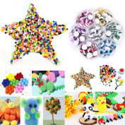 Buytra 1000 Pieces Fluffy Pom Poms with 210 Pack 7 Assorted Colours 10mm Self-adhesive Wiggle Googly Eyes for DIY Scrapbooking Crafts Doll Making