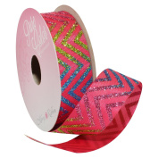Rainbow Sparkle Chevron 2.2cm . x 3.7m Decorative Ribbon - Great for Any Occasion!