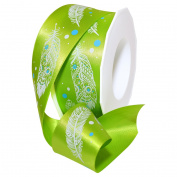 Lime Feather Ribbon 3.8cm . x 3.7m Decorative Ribbon - Great for Any Occasion!