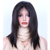 VVHair Straight Malaysian Remy Virgin Human Hair Lace Front Wig Natural Black Colour Length 30cm Medium Cap Size