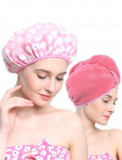 Mesehome Microfiber Super Absorbent Hair Towel - Fast Drying Hair Wrap Turban Cap Style