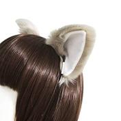 springcos Lolita Fox Ears Fur Cat Ears Headband Cosplay Party Grey