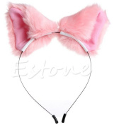 springcos Lolita Fox Ears Fur Cat Ears Headband Cosplay Party Hair Accessories Pink