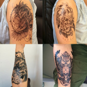 DaLin 4 Sheets Temporary Tattoos, Lion, Hawks, Owl, Skull