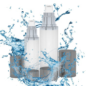 Dual Size Frosted Airless Pump Bottles, Best for Travel and Cosmetic Storage Formulations, Gels, Serums, Creams - BPA Free