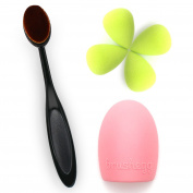 Oval Foundation MakeUp Brush, 4 MakeUp Sponge Egg Blender, Glove MakeUP Brush Cleaner Washing Scrubber Board by Sinsun