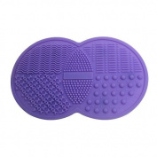 Happy Hours - Mini Double Round Silicone Gel Makeup Brush Cleaner Pad / Cosmetic Brushes Washing Scrubber Board Cleaning Mat Tool with Suction Cup Function for Homeuse and Travel