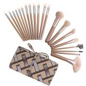 DE'LANCI 20Pcs Premium Synthetic Kabuki Makeup Brushes Kits Cosmetics Foundation Blending Face Concealer Contouring Powder Blush Eyeshadow Contour Make Up Brush Set Tools with Grid Leather Brush Bag