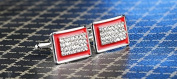 Hosaire Cufflinks Men's Rectangle Cuff Link Delicate Cuff-link with Shine Rhinestones for Wedding Business Red