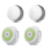 Facial Brush Heads, Greeninsync(TM) Compatible Replacement Facial Cleaning Brush Heads 4Pack for Mia, Alpha Fit, Mia Fit, Mia 2, Mia3, Aria, Smart Profile, Plus and Radiance