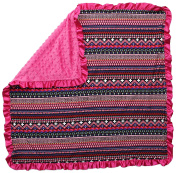 Dear Baby Gear Baby Blankets, Aztec Pink Squares, Hot Pink Minky