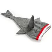 Grey Shark Tail Baby Blanket Knit Crochet Cute Swaddling Sleeping Bag Cocoon