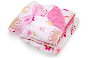 Animal Design Baby Soft Mink Printed 80cm x 80cm Blanket with Pink Sherpa Backing