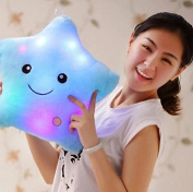 Colourful Star Luminous Pillow Music LED.Luminous Pillow Lovely Pentagram Luminous Blue Colour Stuffed Cartoon Soft Plush Toys,Great Birthday Gift Christmas Gift for Boys and Girls