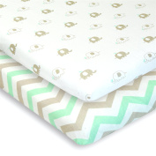 Cuddly Cubs Pack n Play Playard Sheets - Set of 2 Jersey Cotton Fitted Sheets for Mini/Portable Crib Mattress - Grey and Mint with Chevron & Baby Elephants - TOP QUALITY Nursery Bedding for Boy/Girl