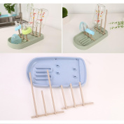 Wheat Straw Milk Bottle Drain Stand, Foldable Drying Rack Portable Lek Cup Holder