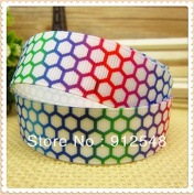 FunnyCraft 10 Yards Wholesale Rainbow Honeycomb Printed Grosgrain Ribbon Hairbow Diy Party Decoration 10 Yards 7/8""