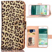 iPhone 7 Case,ARSUE Premium [Card Slot] PU Leather Wallet Cases Slim Folio Book Design with [Kickstand Feature] Magnetic Closure Flip Protective Cover Case for iPhone 7 - Gold Leopard